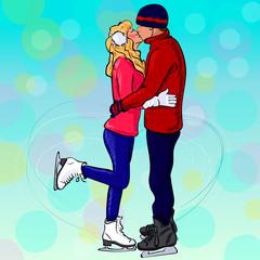Влюбленная пара целуются стоя на коньках