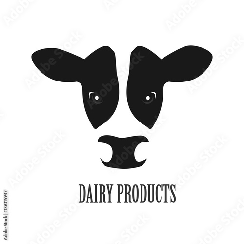 quotcow face logo icon vector dairy products simple design