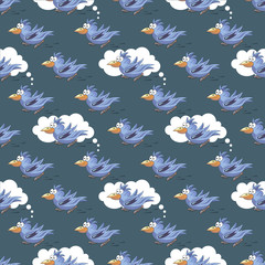 Beautiful seamless pattern with funny parrots
