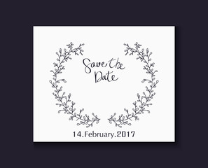 Wedding invitation with lettering decorative with flower