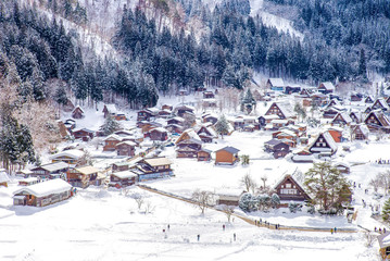 aerial view of Shirakawa village, gifu, japan