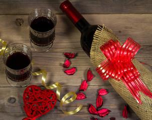 Valentines Day background with wine