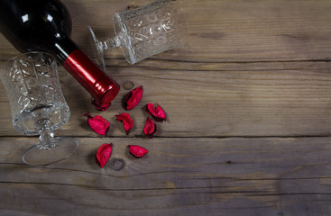 Valentine's day background with wine