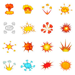 Explosion icons set, cartoon style