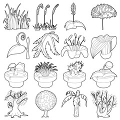 Nature green symbols icons set, outline style