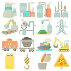 Industrial symbols icons set, cartoon style
