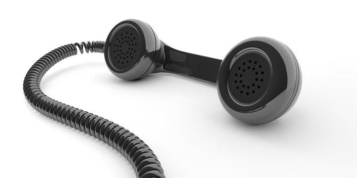 Black old phone receiver on white background. 3d illustration