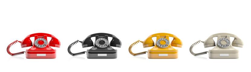Old telephones on white background. 3d illustration