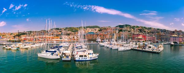 Foto auf Gartenposter Ligurien Panorama of marina Porto Antico Genova, where many sailboats and yachts are moored, Genoa, Italy.