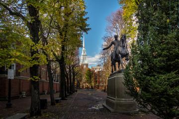 Paul Revere Statue and Old North Church - Boston, Massachusetts, USA