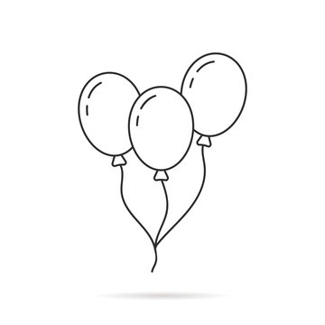 thin line balloon icon with shadow