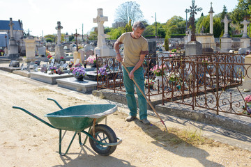 groundskeeper in cemetery