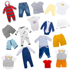 Collection of children's clothes on a white background