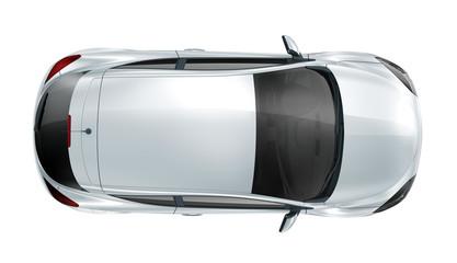 Silver hatcback car - top view
