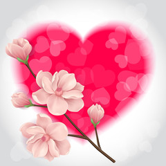 Blurred Heart and Twig with Flowers