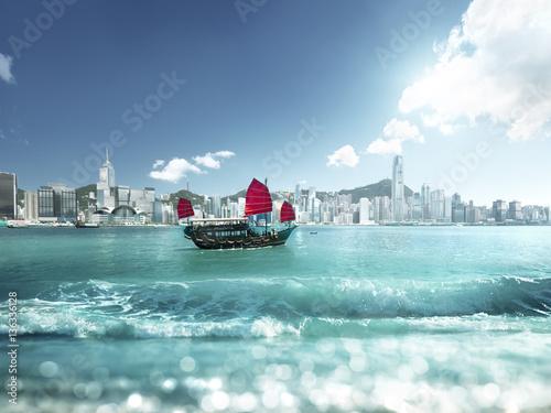 Fototapete Hong Kong and tilt shift effect