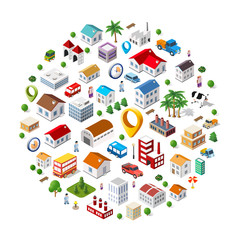 Texture of urban pattern of isometric city facilities such as homes, buildings, factories, plants and trees. Web elements for background and interactive applications concept