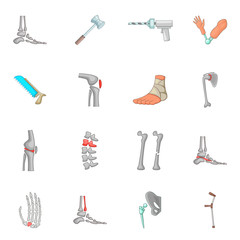 Orthopedic and spine icons set, cartoon style