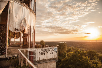 Sunset at the Berlin's Teufelberg.  An old U.S. listening station in west Berlin. Great place for parties and graffiti.