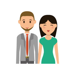 Cute couple cartoon icon vector illustration graphic design