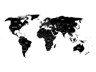Black political World map with country borders and white state name labels. Hand drawn simplified vector illustration.