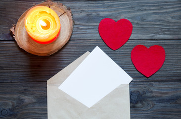 Love letter on Valentine's day. Beautiful letter with red hearts