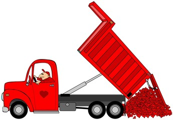 Illustration of a man in a truck dumping a load of Valentine hearts.