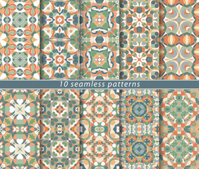 Set of ten classic seamless patterns in bright orange colors. Decorative and design elements for textile, book covers, manufacturing, wallpapers, print, gift wrap.