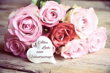 Valentinstag - Rosenstrauß rosa - Grüße zum Valentinstag