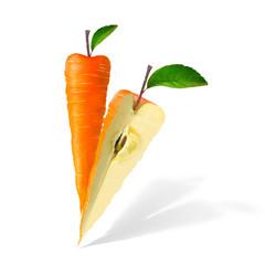 Иллюстрация гибрид моркови и яблока для этикетки фруктово-овощного сока, микса или пюре, генетически модифицированный фрукт на белом фоне
