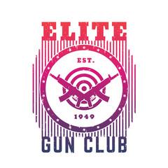 Gun club emblem with automatic guns and target, t-shirt print over white
