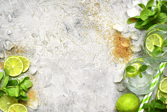 Ingredients for making mojito.Top view with space for text.