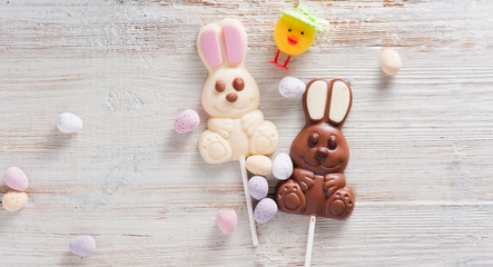Easter Eggs Decoration with Chocolate Easter Bunny