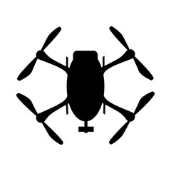 Drone icon black logo element top view vector illustration. Quad copter silhouette