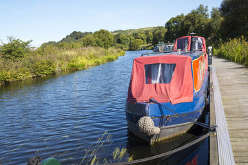 Narrow Boats berthed at Auchenstary on the Forth & Clyde Canal