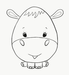 Coloring funny hippo boy