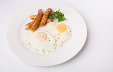 Fond de hotte en verre imprimé Ouf Fried eggs with sausage