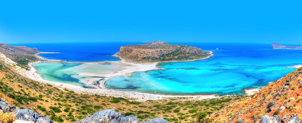 Beautiful Balos beach in the famous island of Crete - Greece