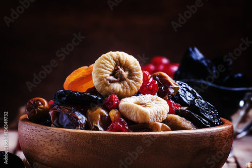 Photo: Dried figs, dried apricots, raisins, dates, prunes and cherries