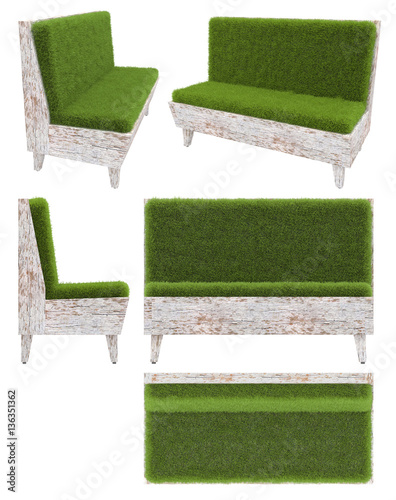 sofa in old wood with grass cover garden furniture top view side view