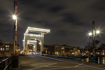 Lights are turned on at the Magere Brug of Amsterdam