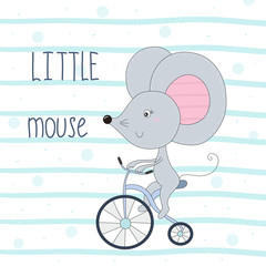 Cute little mouse riding a bicycle cartoon hand drawn vector illustration
