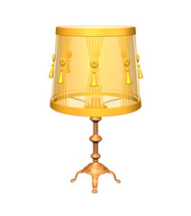 3D image of yellow lamp isolated on white background