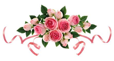 Pink rose flowers and ribbons arangement
