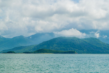Sea landscape with island shore and clouds - the South China sea - Vietnam, Nha Trang bay
