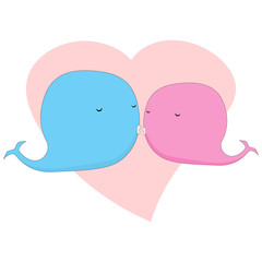 Cute whales postcard. Kissing couple
