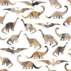 Seamless pattern with cartoon dinosaurs.