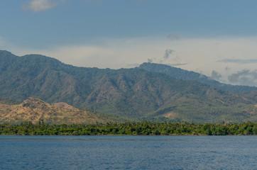 gruene berglandschaft am meer