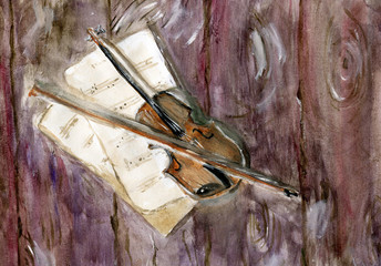 Violin with music scores pages on the wooden background. Hand drawn watercolor