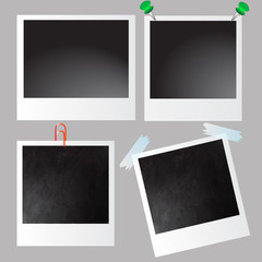 Collection of vector blank photo frames on grey background.Scotch tape.iron pin